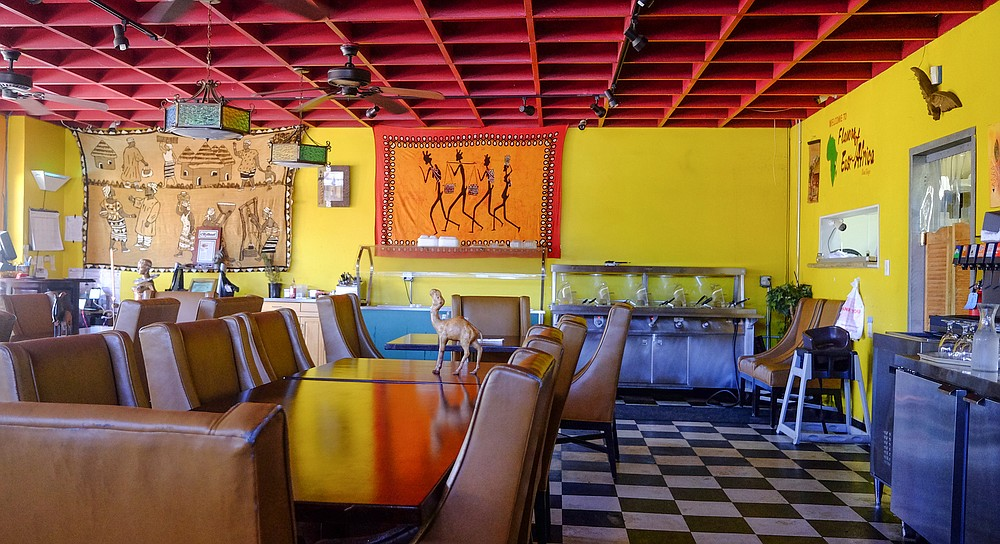 Saturated colors and African imagery add to the comfortable, welcoming space of Flavors of East Africa.