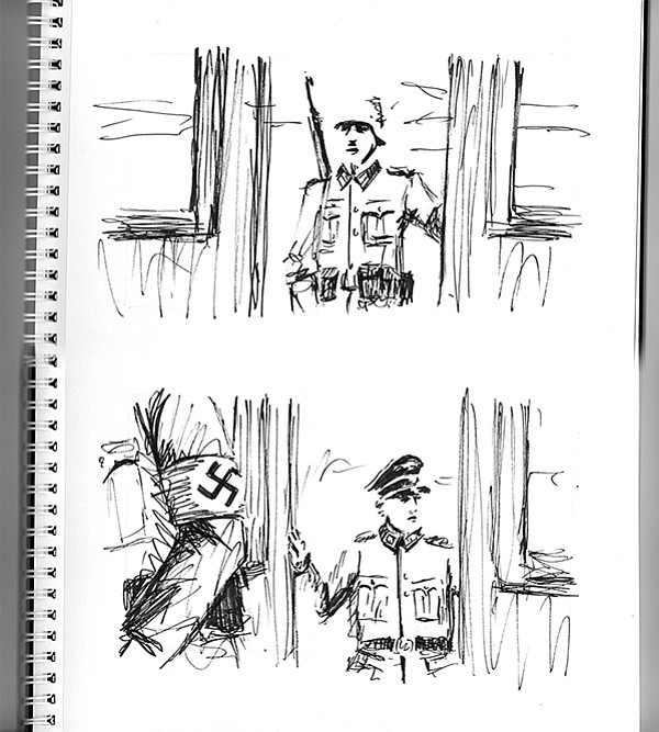 Pen-and-ink Nazis in filmmaker Randall Christopher's notebook