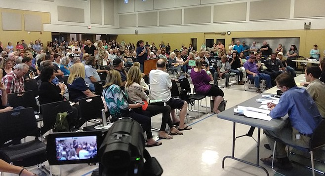 500 people filled up a 250-seat room at the Lakeside Community Center.
