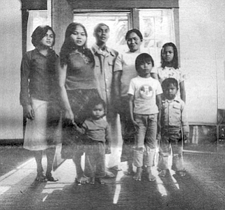Kun Yin and Leh Souk and children. When the Communists took over, Kun Yin was afraid they would try to kill him, so he and his family crossed the border into Thailand.