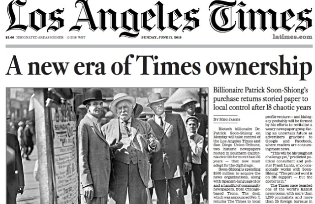 June's announcement of Soon-Shiong's purchase of L.A.Times
