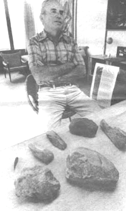 Lying on the canyon bottom in University Heights Herbert Minshall saw what looked like an ancient stone artifact.