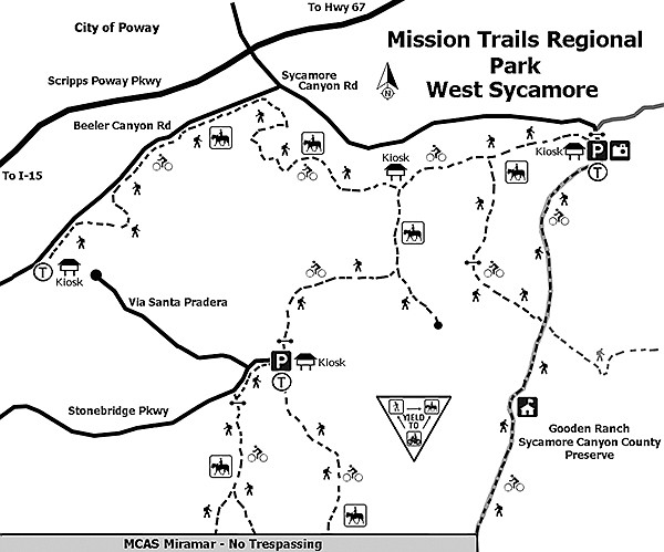 Mission Trails Regional Park West Sycamore map
