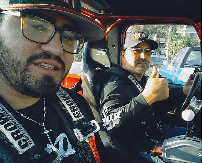 """Ortiz and co-pilot. """"If there's more drivers in the same bracket we make a pot."""""""