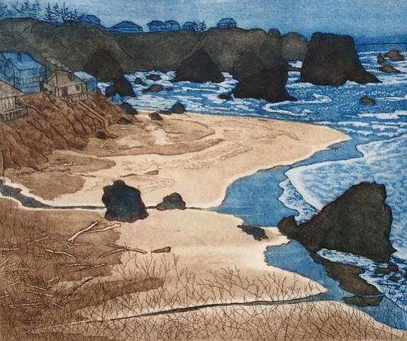 """Harris Beach, Oregon"" by Julianne Ricksecker, original print, René Carcan International Prize for Printmaking"