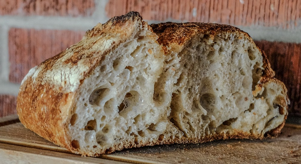 A half loaf of sourdough bread from Wayfarer Bakery