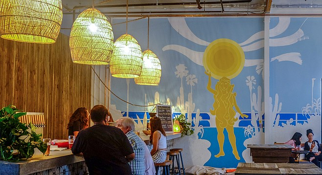A mural depicting the Greek goddess Helia, at newly opened Helia Brewing.