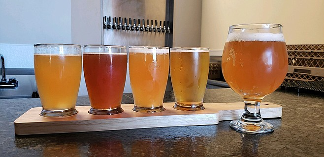 A flight of beers made in National City.