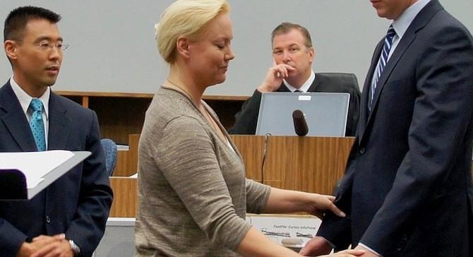 Prosecutor Watanabe, Julie Harper (making demonstration), Judge Bowman