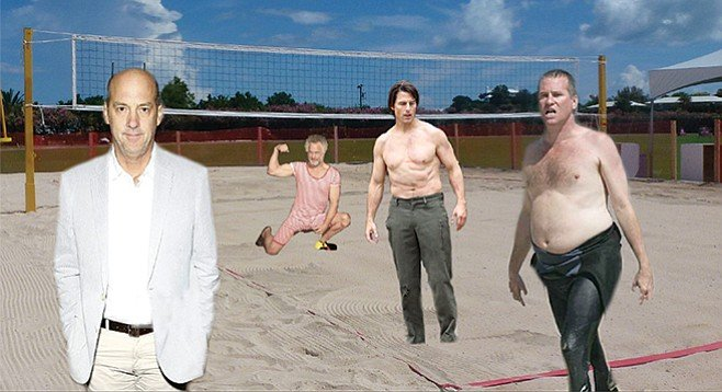 """Let's do this!"" A lumpy but still fit Tom Cruise (Maverick) urges fellow returning stars Anthony Edwards (Goose), Rick Rossovich (Slider), and Val Kilmer (Iceman) to recapture the energy and excitement of their famous beach volleyball game from 1986. (See below.) ""Tony, I know you didn't take your shirt off last time, but at least lose the jacket! Rick, you look even better than I do from the neck down, but the brillo-hair and bathing costume aren't going to help us with the 18-24 demo, and probably not any other demo, either. Val…let's talk."" Filming of the scene had to be shut down after Edwards protested that his character died in the original, but resumed when Cruise reminded him that nothing is ever truly dead while it is still profitable."