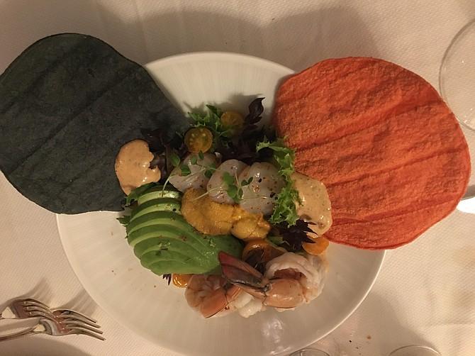 Ceviche trio – shrimp,  scallops, uni
