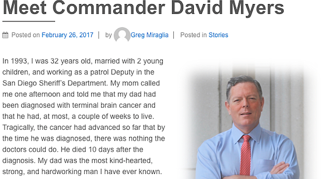 Dave Myers profile on the Coming Out from Behind the Badge website