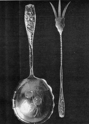 Berry spoon and lettuce fork, Pomona by Towle, c.1887