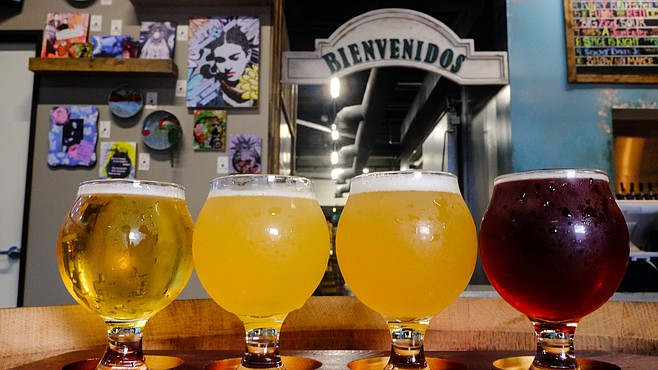 Papa Shaka Mexican Lager, Loop de Loup hazy IPA, Agave Caliente agave ale, and The Funk for Red October