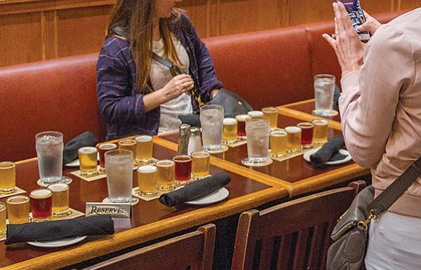 Tasting flights await drinkers at the original Karl Strauss brewery on Columbia Street downtown.