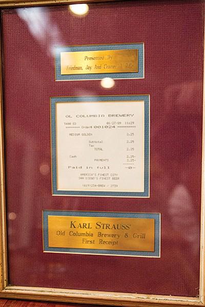 The first receipt, displayed at Karl Strauss