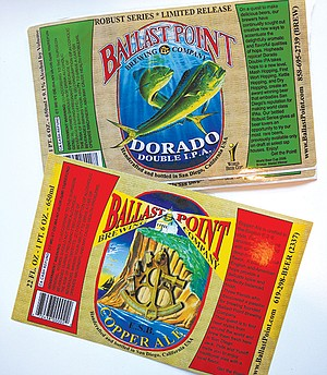 Old Ballast Point Bottle labels