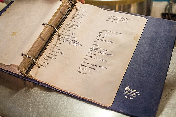 The original recipe for Swami's IPA sits in a binder at Pizza Port Solana Beach