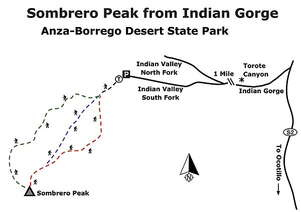 Sombrero Peak from Indian Gorge map