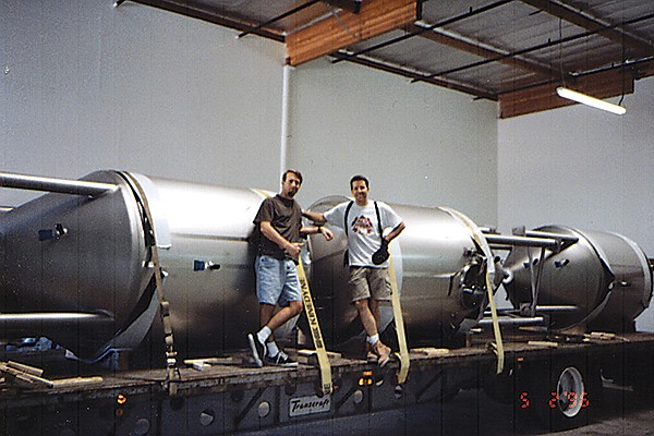Stone Brewing founders Greg Koch and Steve Wagner celebrated the arrival of their first fermentation vessels in 1996.