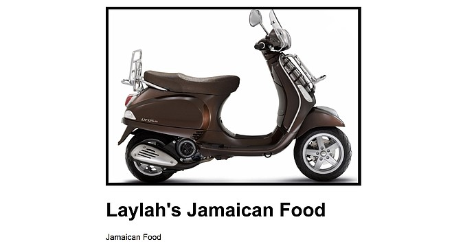 A vintage scooter photo backs Scoootr's claim it delivers to Laylah's Jamaican Food. It does not.