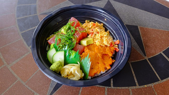 Poke bowl with ahi, spicy crab, and spicy tuna