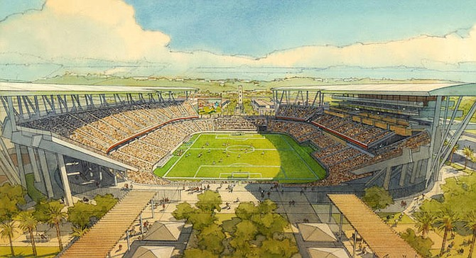 Mock-up of SDSU West, favored by Mission Valley property owners, Tom Sudberry and H.G. Fenton