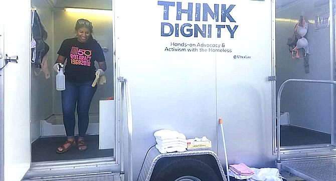Think Dignity's Fresh Start shower trailer.