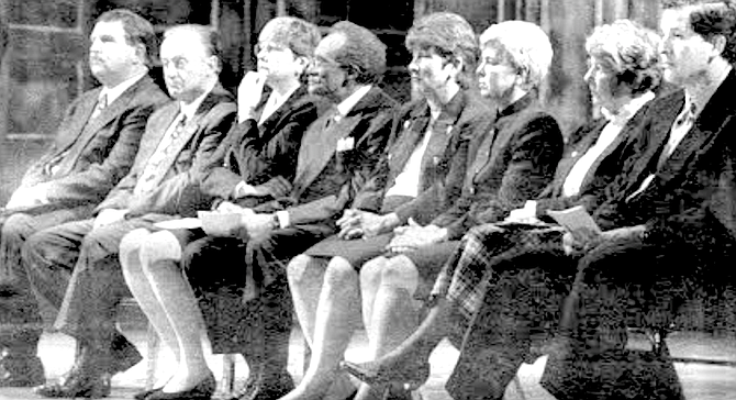 State of City address, 1998. From left: Byron Wear, Harry Mathis, Christine Kehoe, George Stevens, Barbara Warden, Valerie Stallings, Judy McCarty, Juan Vargas - Image by Joe Klein