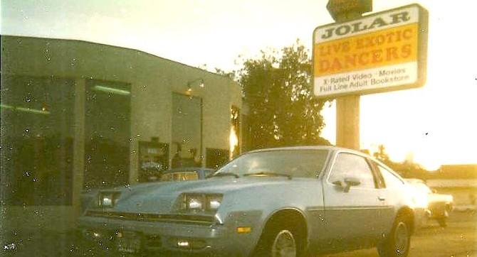 Jolar circa 1985, when the sign still headlined Live Exotic Dancers