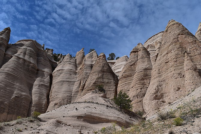 The glorious other worldly hoodoos, Ponderosa pines, and skies of Kasha-Katuwe Tent Rocks National Monument in New Mexico, October 2018.