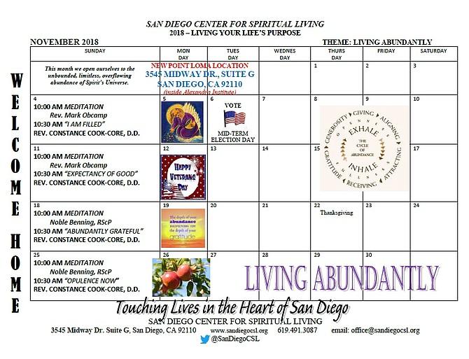 San Diego CSL Calendar for Living Abundantly in November 2018