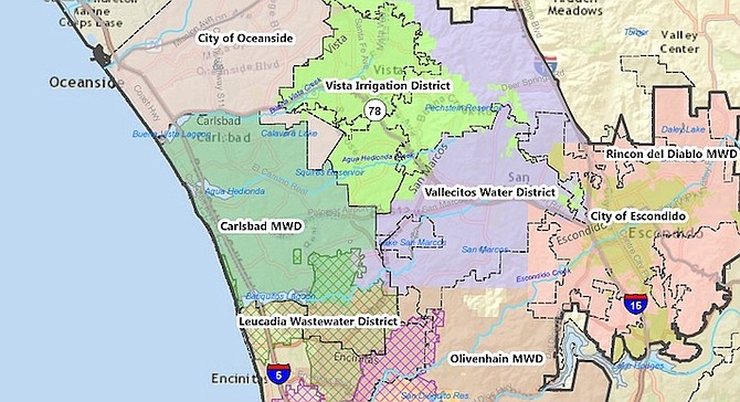 The district covers small parts of Carlsbad, Vista, and unincorporated areas including Lake San Marcos.
