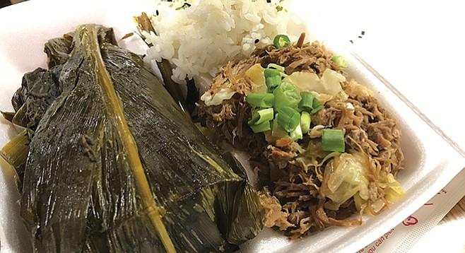 Kama'aina plate. Rice, Kalua pork, and wrapped in cabbage palm, laulau