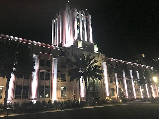 County building at night