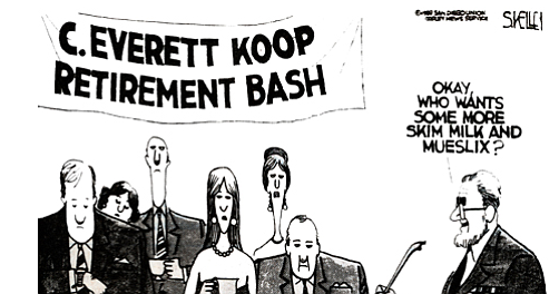Kelley cartoon in Union, 1989, 12 years before his departure.