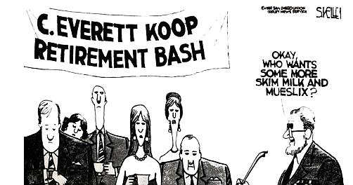 Kelley cartoon in Union, 1989, 12 years before his departure.