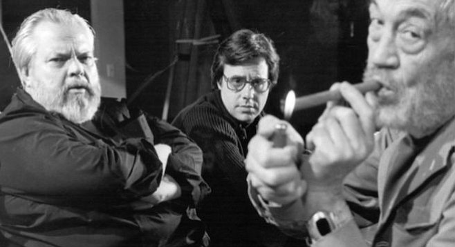 Orson Welles, Peter Bogdanovich, and John Huston on the set of the finally completed, The Other Side of the Wind.