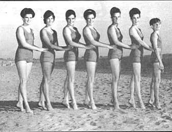 Jerome dreamed up the idea of taking the Swimming O'Connor Sisters on a nationwide tour. (Maureen third from left).