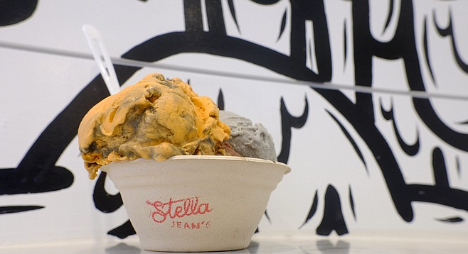 Thai Tea ice cream (orange) and S'mores (gray) fit a Halloween motif at Stella Jean's.