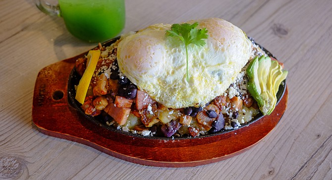 A breakfast hash combining Mexican, Filipino, and American cuisines