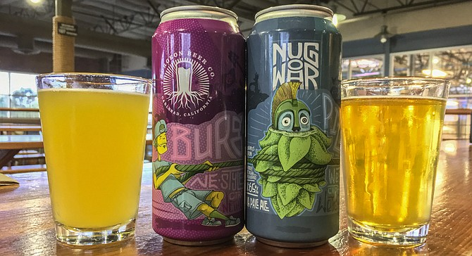 Pizza Port and Burgeon canned nonidentical versions of the same wet hop beer.