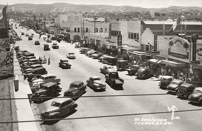 1948 postcard showing Avenida Revolución, then known as Main Street.