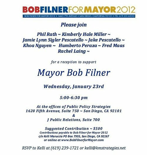 Rath served as aide to Bill Horn and Jerry Sanders, yet his name appears on this Bob Filner fundraiser.