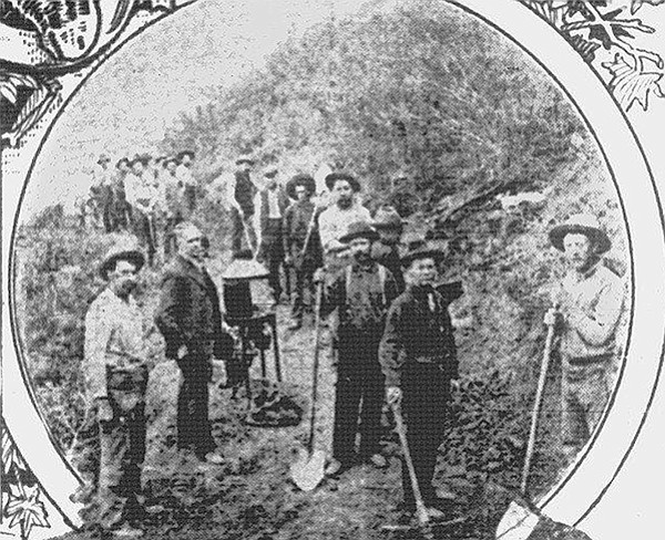 March 1908 picture from the San Diego Union: miners in the Dulzura goldfield