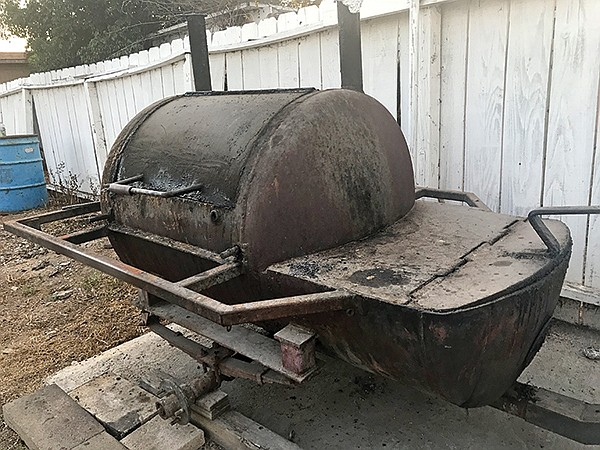 The giant smoker in the yard