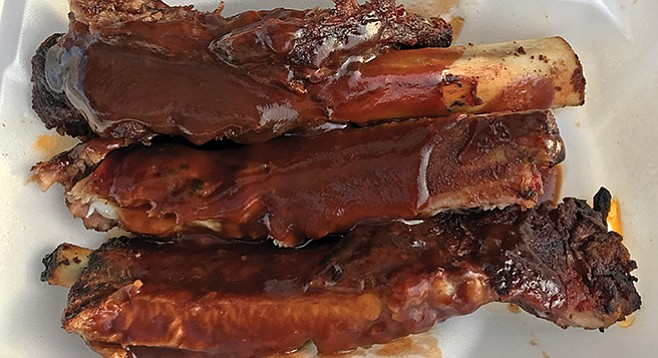You can have three beef ribs, three pork ribs, or a mix