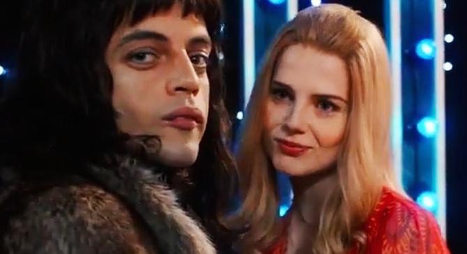 Rami Malek as Freddie Mercury and Lucy Boynton as Mary Austin