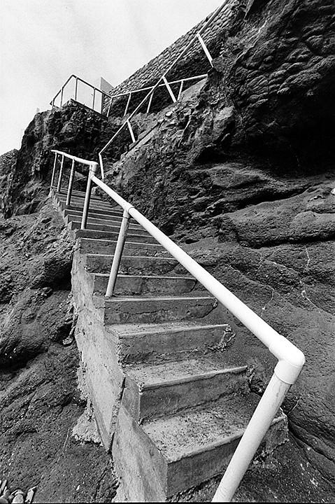 San Antonio del Mar's private beach access stairs