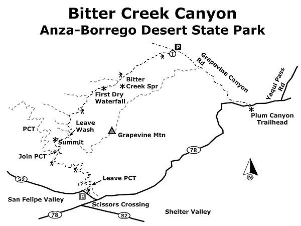 Bitter Creek Canyon map